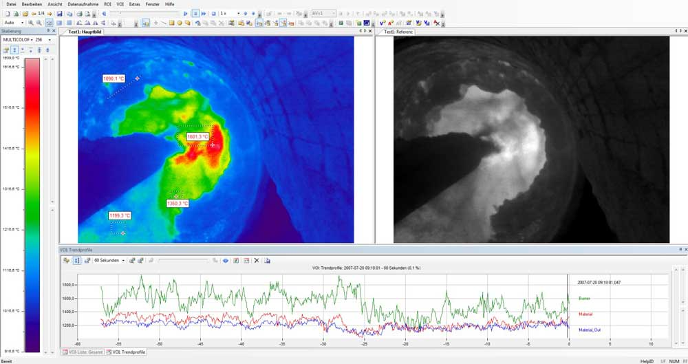PYROINC在回转窑燃烧室的测温热像图